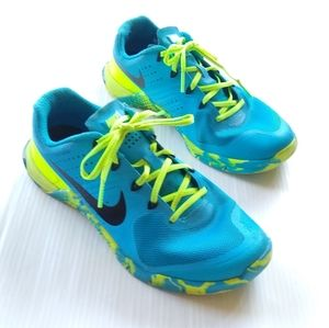 NIKE flywire blue neon womens running shoes 843972
